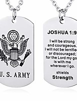 cheap -us marine corps dog tag necklace birthday gift ideas to husband son joshua 1:9 prayer pendant (u.s. army joshua 1:9)