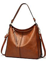 cheap -Women's Bags PU Leather Tote Zipper Plain 2021 Daily Going out Camel Black Brown