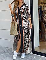 cheap -Women's Shirt Dress Maxi long Dress - Long Sleeve Color Block Leopard Split Patchwork Print Summer Fall Shirt Collar Elegant Casual 2020 Brown S M L XL XXL