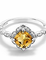 cheap -yellow citrine 925 sterling silver women's engagement ring (1.74 cttw cushion gemstone birthstone) (size 7)