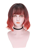 cheap -Synthetic Wig Curly With Bangs Wig Short Green Purple Orange Synthetic Hair 10 inch Women's Cool Color Gradient Fluffy Purple Orange