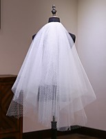 cheap -Two-tier Comtemporary Wedding Veil Shoulder Veils with Trim POLY / 100% Polyester