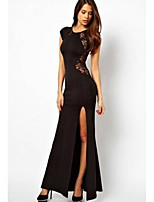 cheap -Women's Sheath Dress Maxi long Dress - Short Sleeve Solid Color Split Lace Hollow To Waist Summer Sexy Party Going out Cap Sleeve 2020 Black S M L XL XXL