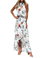 cheap -women boho floral maxi dress halterneck sleeveless evening party dresses summer beach sundress