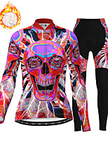 cheap -21Grams Women's Long Sleeve Cycling Jersey with Tights Winter Fleece Polyester Red Skull Bike Clothing Suit Thermal Warm Fleece Lining Breathable 3D Pad Warm Sports Graphic Mountain Bike MTB Road