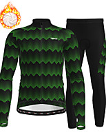 cheap -21Grams Men's Long Sleeve Cycling Jersey with Tights Winter Fleece Polyester Black Bike Clothing Suit Thermal Warm Fleece Lining Breathable 3D Pad Warm Sports Printed Mountain Bike MTB Road Bike