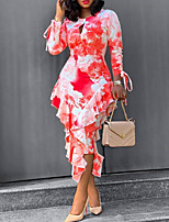 cheap -Women's Sheath Dress Midi Dress - Long Sleeve Print Print Spring Fall Casual Slim 2020 Red M L XL XXL 3XL 4XL 5XL