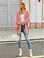 cheap -Women's Fall & Winter Coat Long Solid Colored Daily Sophisticated Blushing Pink S M L XL / Going out / Loose