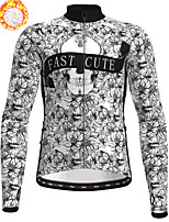 cheap -21Grams Men's Long Sleeve Cycling Jersey Winter Fleece Polyester Grey Skull Floral Botanical Christmas Bike Jersey Top Mountain Bike MTB Road Bike Cycling Fleece Lining Warm Quick Dry Sports Clothing