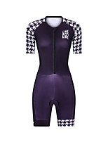 cheap -Men's Women's Short Sleeve Triathlon Tri Suit Polyester Black Bike Clothing Suit Breathable 3D Pad Quick Dry Reflective Strips Sweat-wicking Sports Graphic Mountain Bike MTB Road Bike Cycling