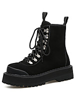 cheap -Women's Boots Block Heel Round Toe Booties Ankle Boots Punk & Gothic British Daily Walking Shoes Leather Rivet Lace-up Solid Colored Black / Mid-Calf Boots