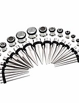 cheap -38pcs 16g-00g surgical steel ear stretching kit tunnels and tapers set (38pcs silver)