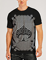 cheap -Men's T shirt 3D Print Graphic 3D Print Short Sleeve Daily Tops Round Neck Black / Gray