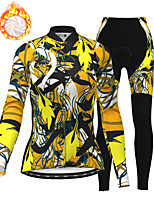 cheap -21Grams Women's Long Sleeve Cycling Jersey with Tights Winter Fleece Polyester Black / Yellow Bike Clothing Suit Fleece Lining Breathable 3D Pad Warm Quick Dry Sports Graphic Mountain Bike MTB Road