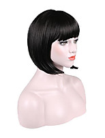 cheap -bob short black wig for women ladies daily party halloween cosplay costume heat resistant synthetic wigs 13 inches(black)