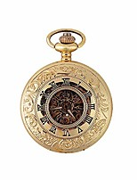 cheap -antique pocket watch with chain clamshell retro classic mechanical pocket watch men and women hollow memorial pocket watch gold easy to read time