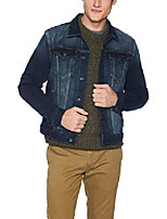 cheap -men's denim trucker jacket, dark wash, medium