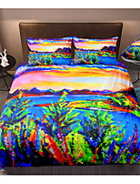 cheap -Abstract Landscape 3-Piece Duvet Cover Set Hotel Bedding Sets Comforter Cover with Soft Lightweight Microfiber, Include 1 Duvet Cover, 2 Pillowcases for Double/Queen/King(1 Pillowcase for Twin/Single)
