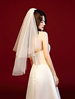 cheap -Two-tier Vintage Style / Classic Wedding Veil Elbow Veils with Faux Pearl / Trim POLY / 100% Polyester