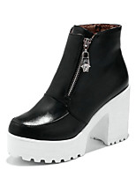 cheap -Women's Boots Chunky Heel Round Toe Booties Ankle Boots Casual Daily PU Solid Colored White Black / Booties / Ankle Boots