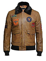 cheap -mens a2 airforce lamb leather bomber flying jacket with detachable collar (s, tan)