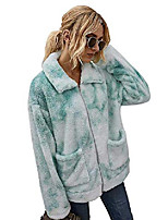 cheap -womens sherpa tie dye jacket long sleeve zip up fuzzy cardigan thermal fleece shearling jacket coat with pockets (light green,m)