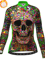 cheap -21Grams Women's Long Sleeve Cycling Jersey Winter Fleece Polyester Green Skull Bike Jersey Top Mountain Bike MTB Road Bike Cycling Fleece Lining Breathable Warm Sports Clothing Apparel / Stretchy