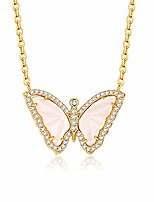cheap -butterfly necklace for women girls 14k gold plated dainty gemstone butterfly pendant necklace blue butterfly jewelry gifts for anniversary birthday (white mother of pearl)