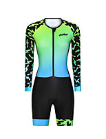 cheap -Men's Women's Long Sleeve Triathlon Tri Suit Polyester Green Gradient Bike Clothing Suit Breathable 3D Pad Quick Dry Reflective Strips Sweat-wicking Sports Graphic Mountain Bike MTB Road Bike Cycling