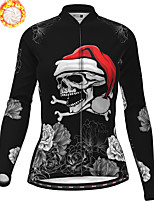 cheap -21Grams Women's Long Sleeve Cycling Jersey Winter Fleece Polyester Black Skull Christmas Santa Claus Bike Jersey Top Mountain Bike MTB Road Bike Cycling Fleece Lining Warm Quick Dry Sports Clothing