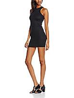 cheap -women's 90s plan sleeveless rib body con dress, black, 8