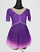 cheap -Gamesir Figure Skating Dress Women's Girls' Ice Skating Dress Purple Spandex High Elasticity Training Competition Skating Wear Patchwork Crystal / Rhinestone Sleeveless Ice Skating Figure Skating