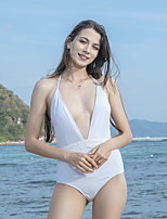 cheap -Women's Fashion Sexy One Piece Swimsuit Solid Color Slim Normal Swimwear Bathing Suits White