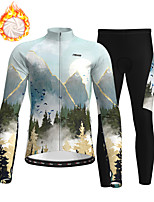 cheap -21Grams Men's Long Sleeve Cycling Jersey with Tights Winter Fleece Polyester Sky Blue Bike Clothing Suit Thermal Warm Fleece Lining Breathable 3D Pad Warm Sports Graphic Mountain Bike MTB Road Bike