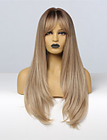 cheap -Synthetic Wig Natruel Straight With Bangs Wig Long Light Brown Synthetic Hair 24 inch Women's Fashionable Design Women Girl   Ombre Hair Brown
