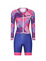 cheap -Men's Women's Long Sleeve Triathlon Tri Suit Polyester Red Stripes Bike Clothing Suit Breathable 3D Pad Quick Dry Reflective Strips Sweat-wicking Sports Stripes Mountain Bike MTB Road Bike Cycling