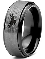 cheap -tungsten falcon eagle bird band ring 8mm men women comfort fit black step bevel edge brushed gray polished size 4