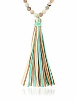 cheap -bohemian tassel statement necklace - lightweight fabric faux suede fringe long bead chain (natural stone & multi tassel - amazonite)