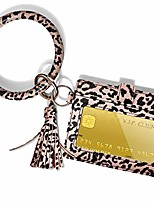 cheap -bracelet bangle key ring wallet pu leather with round keychain matching wristlet card holder for women and girls - leopard