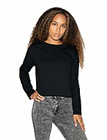 cheap -women's fine jersey long sleeve boxy crop top, black, x-small