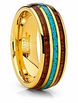 cheap -unisex men's gold tone tungsten wedding band engagement ring koa wood crushed turquoise inlay 9
