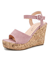 cheap -Women's Sandals Wedge Heel Peep Toe Classic Daily PU Solid Colored Pink Royal Blue Gray