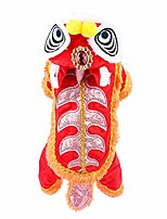 cheap -dog clothes£¬lion dance pet costume,winter warm chinese style cute lion head dance pet clothing costume for pet dog cat christmas new year spring festival supplies size s