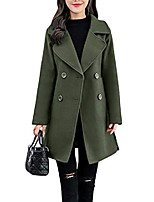cheap -women's fashion double breasted mid long winter wool blend pea coat (small, army green)