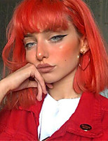 cheap -Synthetic Wig Straight Neat Bang Wig Short Orange Synthetic Hair Women's Fashionable Design Cool Orange