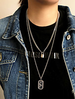 cheap -Men's Women's Pendant Necklace Chain Necklace Drop Vertical / Gold bar Joy Blessed Faith Angel Fashion Vintage Punk Trendy Stainless Steel Titanium Steel Silver 67 cm Necklace Jewelry 2pcs For Party