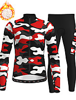 cheap -21Grams Men's Long Sleeve Cycling Jersey with Tights Winter Fleece Polyester Red Camo / Camouflage Bike Clothing Suit Fleece Lining Breathable 3D Pad Warm Quick Dry Sports Graphic Mountain Bike MTB