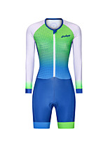 cheap -Men's Women's Long Sleeve Triathlon Tri Suit Polyester Green Polka Dot Gradient Bike Clothing Suit Breathable 3D Pad Quick Dry Reflective Strips Sweat-wicking Sports Polka Dot Mountain Bike MTB Road