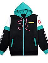 cheap -hatsune miku anime hoodie jacket adult cosplay zip-up hooded sweatshirt coat jumpers green xxl