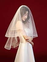cheap -Two-tier Simple / Classic Wedding Veil Elbow Veils with Faux Pearl / Trim POLY / 100% Polyester